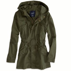 AE Army Green Hooded Drawstring Utility Jacket